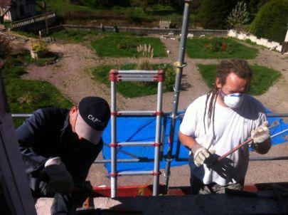 Wir werkeln am Dach herum